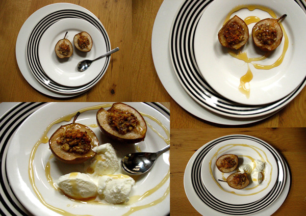 caramelized pear with ice cream pears : chopped walnuts : honey : ginger :  roast 180C 25min